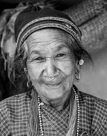 Nepalese Woman in Black and White
